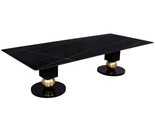 Custom Modern Porcelain Black Dining Table with Geometric Pedestals