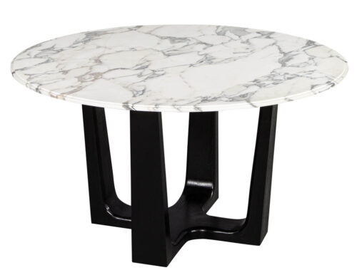 Custom Modern Round Marble Top Dining Table
