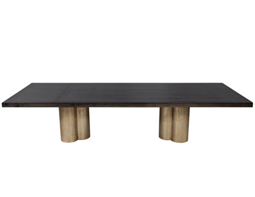 Custom Modern Grey Dining Table with Metal Tulip Pedestals