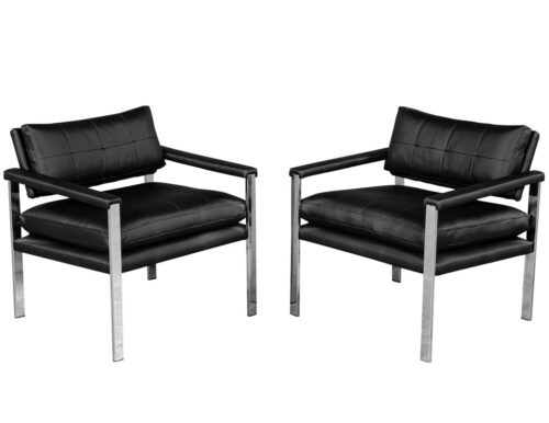 Pair of Vintage Mid-Century Modern Arm Chairs in Metal