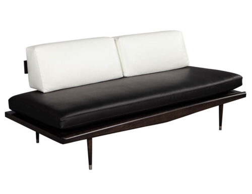 Vintage Mid-Century Modern Leather Sofa