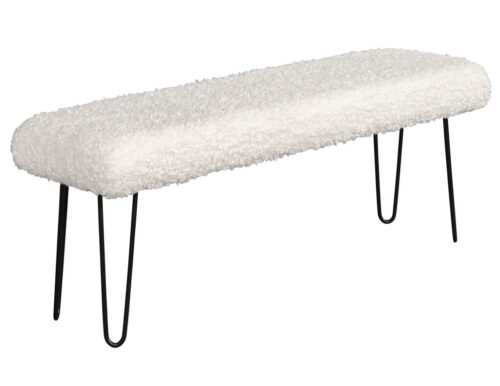 Modern Faux Curly Sherpa Poodle Bench