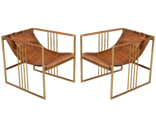 Pair of Modern Brass Leather Lounge Chair Tan by McGuire Haybine