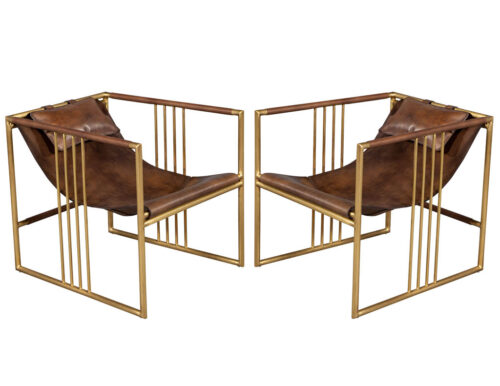 Pair of Modern Brass Leather Lounge Chair Saddle by McGuire Haybine