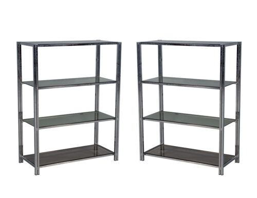 Pair of Polished Chrome Bookcases