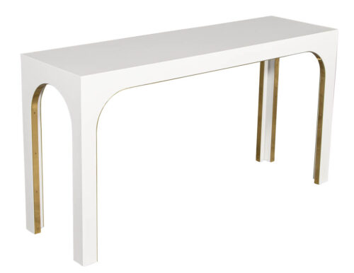 Sleek Modern White Console Table with Metal Accents