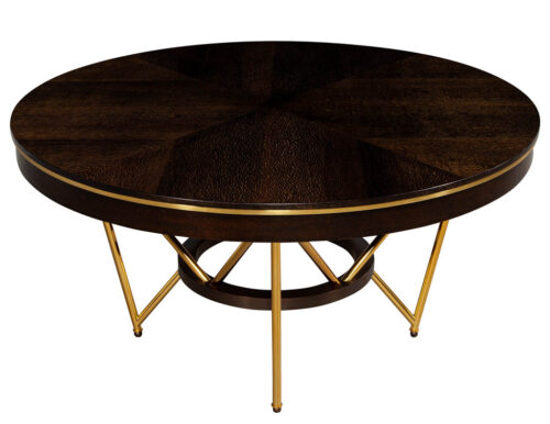 Modern Round Dining Table with Brass Base