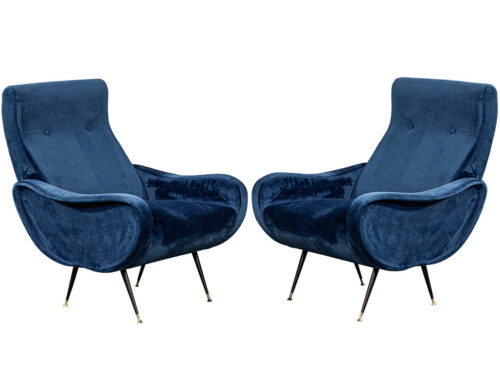 Pair of Italian Blue Velvet Lounge Chairs Attributed to Zanuso Style