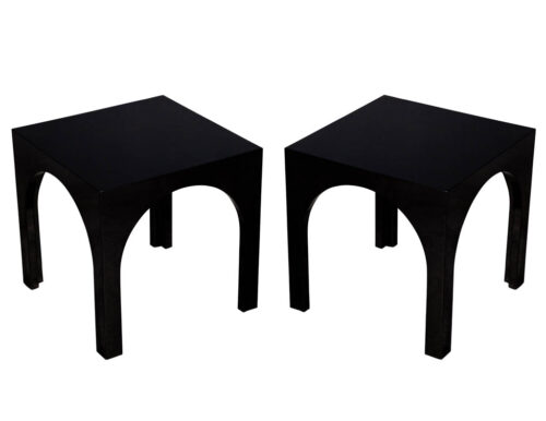 Pair of Modern Black Lacquered Polished End Tables