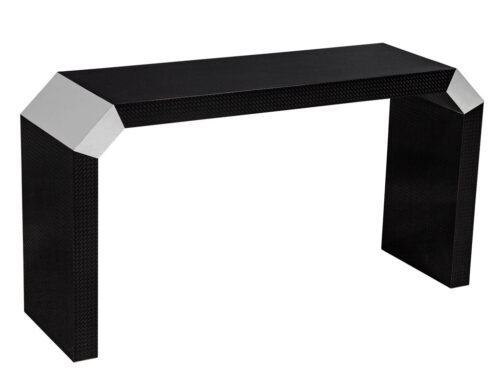 Modern Black Console Table with Geometric Carbon Fibre Laminate
