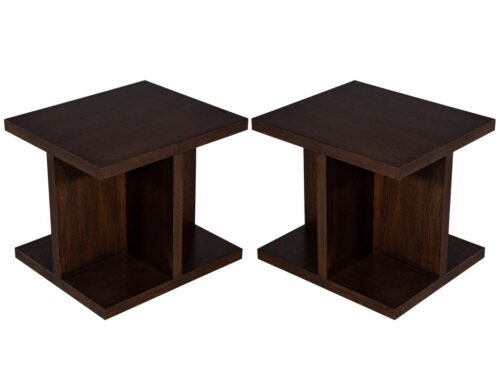 Pair of Custom Modern Geometric End Tables
