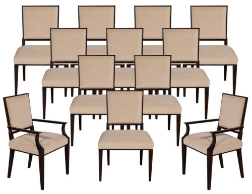 Set of 12 Custom Modern Walnut Dining Chairs