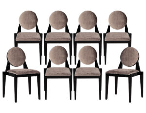 Set of 8 Custom Round Back Modern Arrondi Dining Chairs