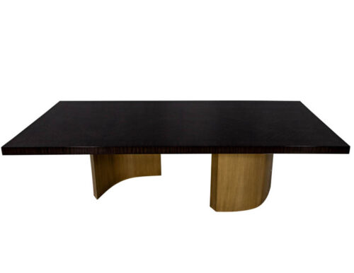 Custom Macassar Dining Table with Brass Bases