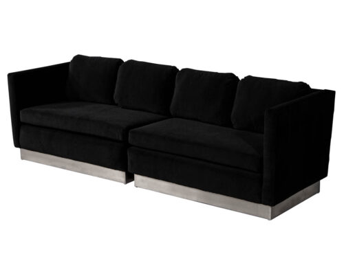 Mid-Century Modern Black Velvet Lounge Sofa Two Piece Set