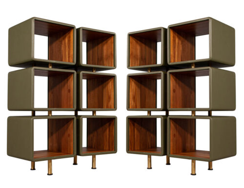 Pair of Modern Leather Clad Bookcases