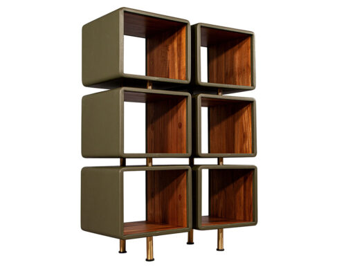Modern Leather Clad Bookcase