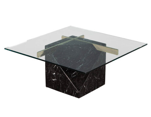 Mid-Century Modern Marble Brass & Glass Coffee Table by Artedi