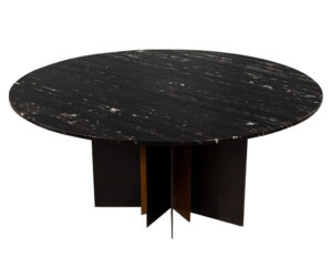 Modern Round Black Marble Top Dining Table