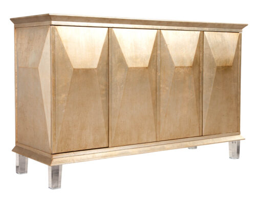 Modern Silver Leafed Console Cabinet in Champagne Gold