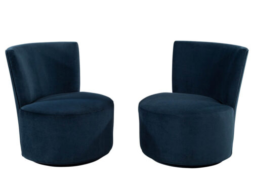 Pair of Mid-Century Modern Upholstered Swivel Chairs in the Style of Dunbar
