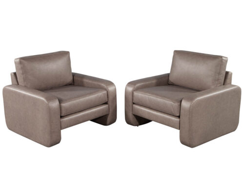 Pair of Vintage Mid-Century Modern Leather Lounge Chairs