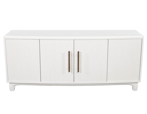 Modern White Lacquered Sideboard Cabinet with Reeded Doors