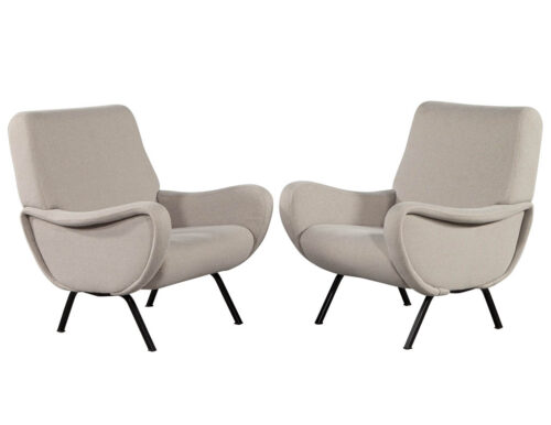 Pair of Vintage Italian Lounge Chairs in the Style of Zanuso