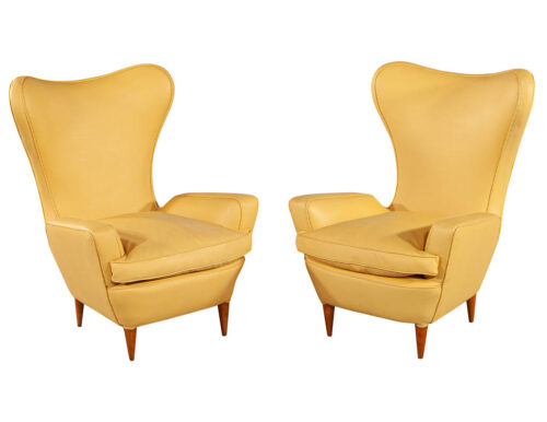 Pair of Leather Italian Lounge Chairs Attributed to Paolo Buffa