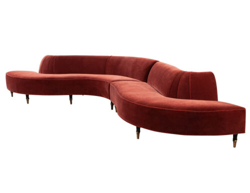 Vintage Mid-Century Modern Curved Sofa in the Style of Vladimir Kagan
