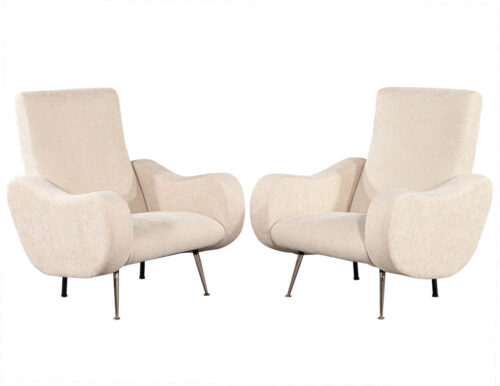 Pair of Vintage Sculpted Italian Zanuso Style Lounge Chairs