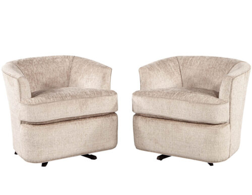Pair of Mid-Century Modern Upholstered Swivel Chairs