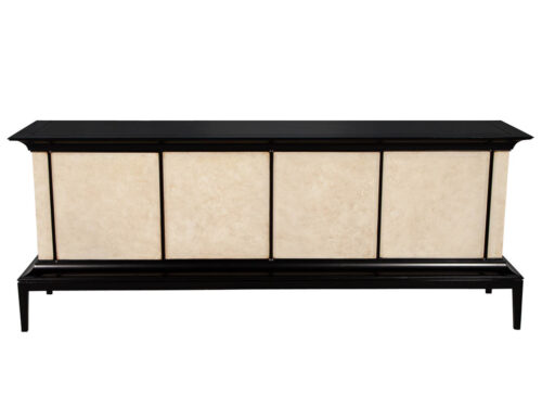 Modern Black Lacquered Sideboard Credenza with Faux Parchment Fronts