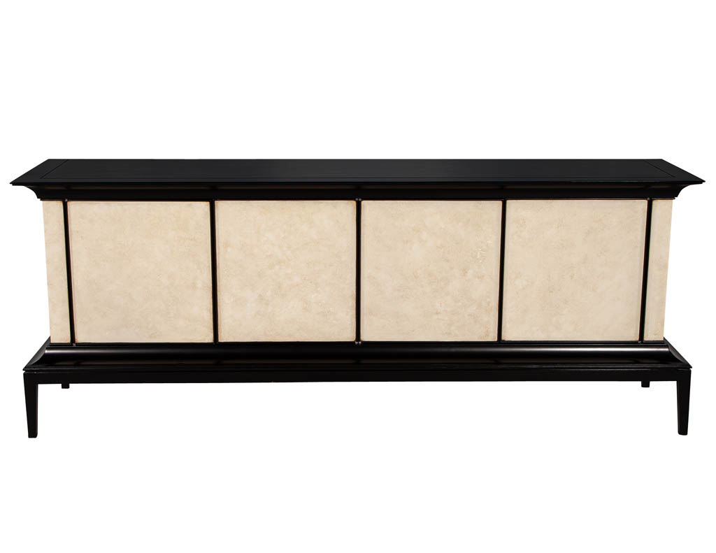 B-2075-Modern-Black-Lacquered-Sideboard-Faux-Parchment-Fronts-001