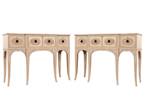 Pair of American Mahogany Console Servers in Natural Washed Finish