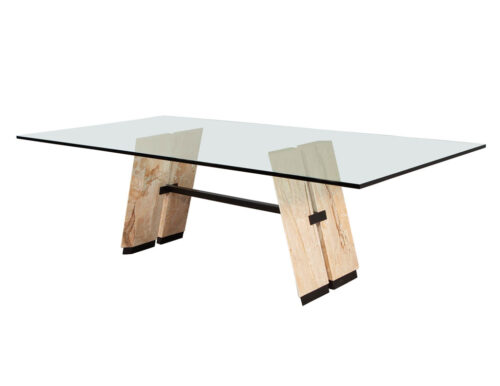 Custom Cantilever Stone Glass Top Dining Table