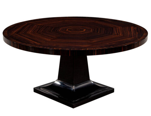 Round Modern Macassar Dining Table with Black Lacquered Pedestal